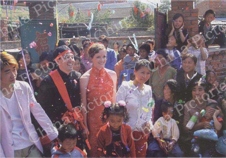Autumn 2006: Shannon and Zhe celebrate their wedding in the small mountain village of Huangbaiyu.